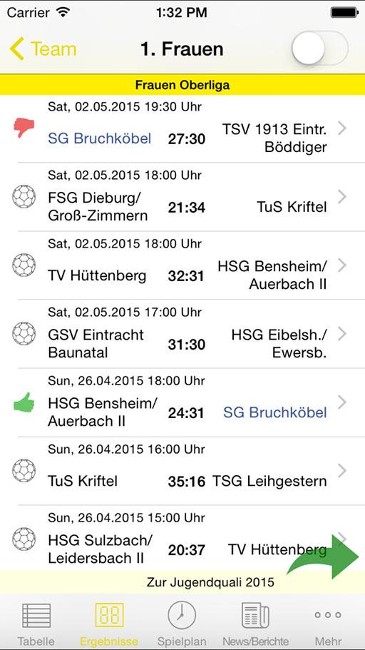 Handball-App SG Bruchköbel iOS