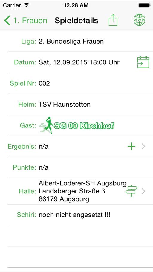 Handball-App SG 09 Kirchhof iOS